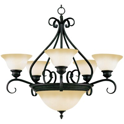 Ambrose 7-Light Shaded Chandelier Finish: Kentucky Bronzewith Wilshire Shade