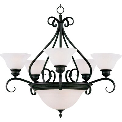Ambrose 7-Light Shaded Chandelier Finish: Kentucky Bronzewith Marble Shade