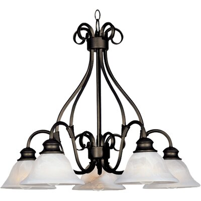 Ambrose 5-Light Shaded Chandelier Finish: Kentucky Bronzewith Marble Shade
