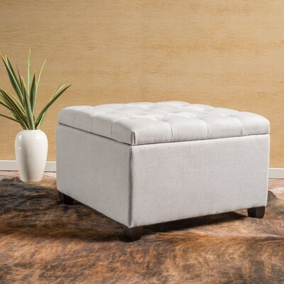 Avis Storage Ottoman Color: Light Gray, Upholstery Material: Polyester Fabric