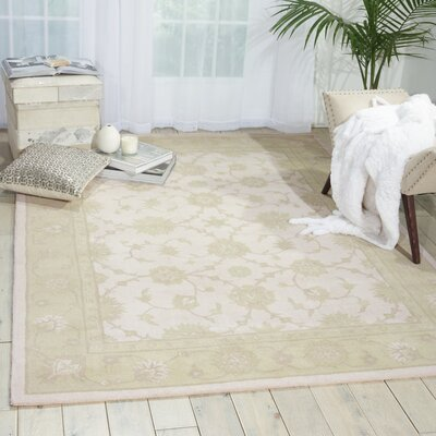 Ridgeville Hand Tufted Ivory & Green Area Rug Rug Size: 56 x 75