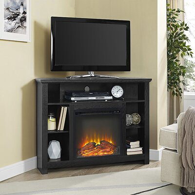 Senecaville Corner 44 TV Stand with Fireplace Finish: Black
