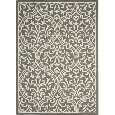 Hockenberry Handmade Gray/Ivory Area Rug Rug Size: 8 x 11