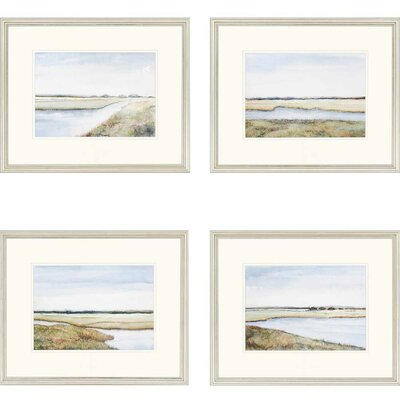 'Marshes Giclee' 4 Piece Framed Painting Print Set
