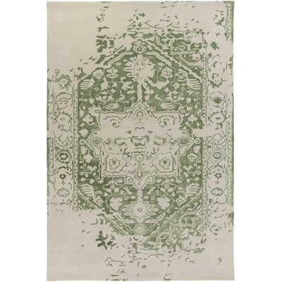 Angeles Hand Tufted Wool Green/Gray Area Rug Rug Size: 6 x 9