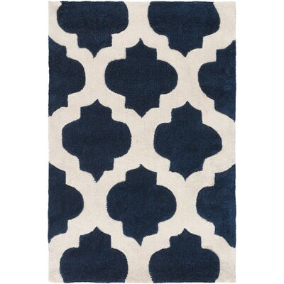 Freetown Navy Geometric Rug Rug Size: Round 8