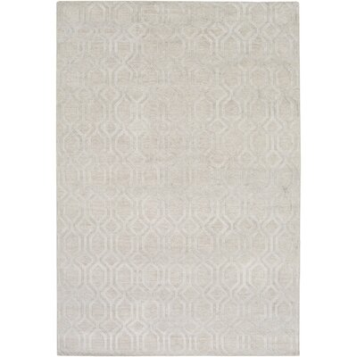 Barrville Hand-Knotted Light Gray Area Rug Rug size: Rectangle 4 x 6