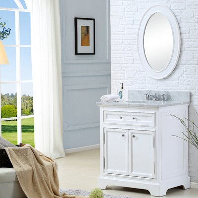 Alba 24 Single Sink Bathroom Vanity Set with Mirror - White