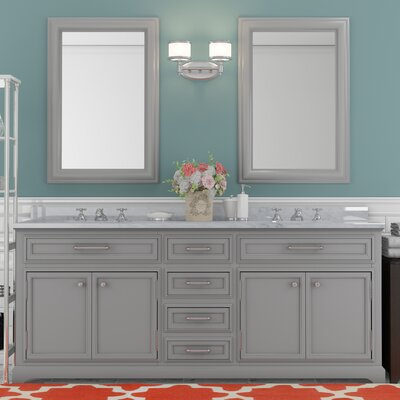 Bergin 72 Double Sink Bathroom Vanity Set with Faucets - Grey