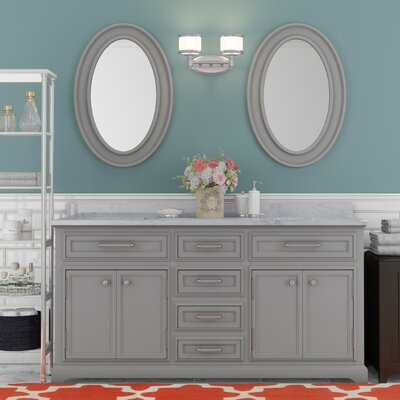 Bergin 60 Double Sink Bathroom Vanity Set with Mirror - Grey