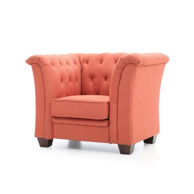 Tignor Tufted Arm chair Upholstery: Orange