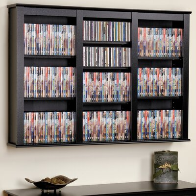 Triple Media Multimedia Wall Mounted Storage Rack Finish: Black