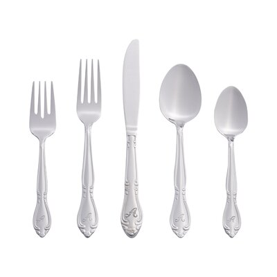 Eastlawn Rose Monogram Letter 46 Piece Flatware Set