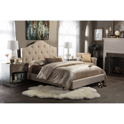 Waynesfield Full/Double Upholstered Platform Bed Color: Beige