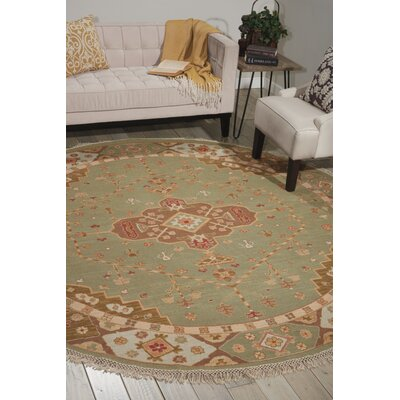Cullen Hand-Woven Jade Area Rug Rug Size: Round 8