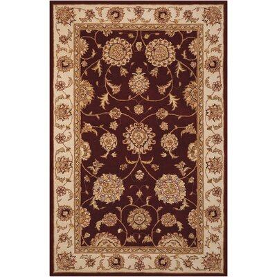 Ottoville Hand-Tufted Burgandy/Beige Area Rug Rug Size: 5 x 8
