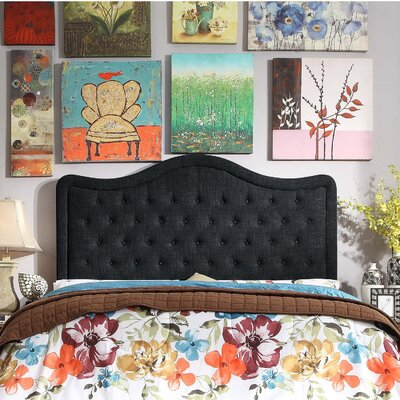 Turin Tufted Upholstered Panel Headboard Upholstery: Charcoal, Size: Full