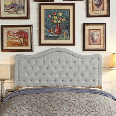 Turin Tufted Upholstered Panel Headboard Upholstery: Gray, Size: King