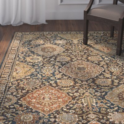 Eastman Hand-Woven Blue/Gold Area Rug Rug Size: 5'3