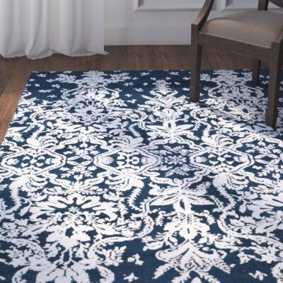 Snider Blue/White Area Rug Rug Size: Runner 26 x 8