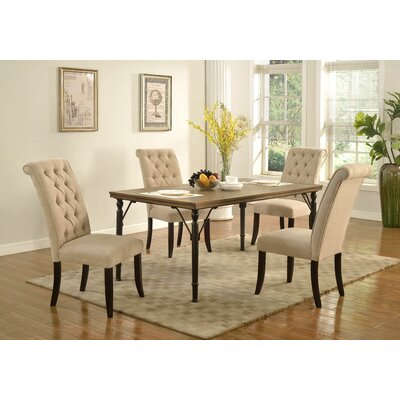 Lapeer 5 Piece Dining Set Upholstery: Natural