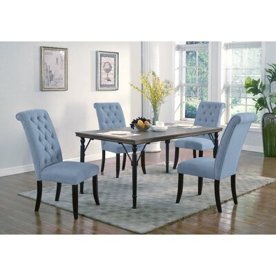 Lapeer 5 Piece Dining Set Upholstery: Sea Blue