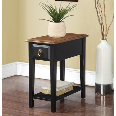 Erin End Table With Storage Color: Black