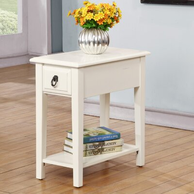 Erin End Table With Storage Color: White