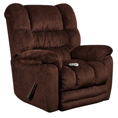 Lawnton Massaging Microfiber Recliner with Heat Control Upholstery: Mahogany