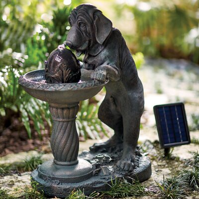 Resin Solar Friedlander Canine Fountain with Light