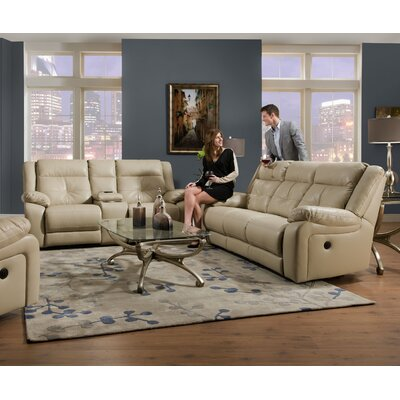 Simmons Upholstery Obryan Pearl Double Motion Console Reclining Loveseat Recliner Mechanism: Power, Upholstery: Pearl