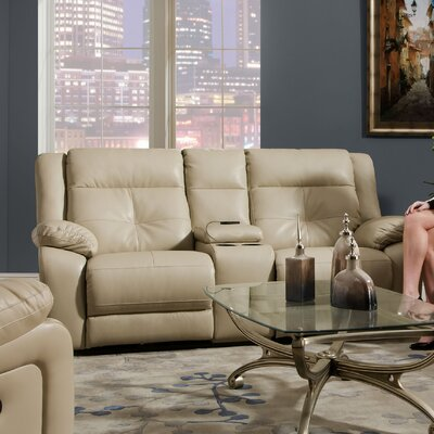 Simmons Upholstery Obryan Pearl Double Motion Console Reclining Loveseat Type: Power