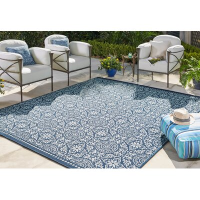 Haddam Navy Indoor/Outdoor Area Rug Rug Size: Rectangle 53 x 76