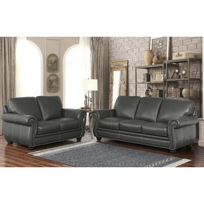 Fairdale Top Grain Leather Sofa and Loveseat Set