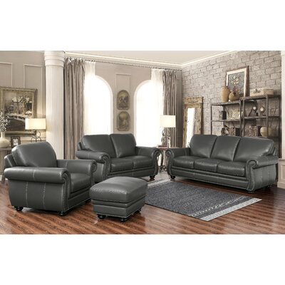 Fairdale Top Grain Leather Sofa, Loveseat, Armchair and Ottoman Set