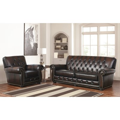 Everson 2 Piece Leather Living Room Set