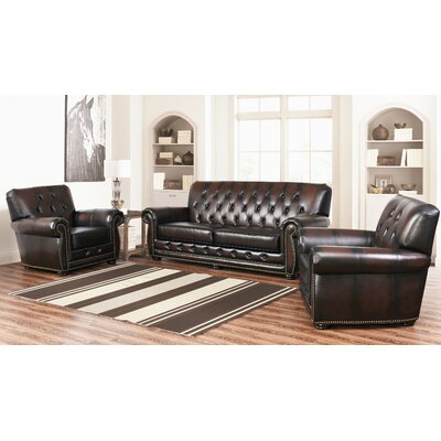 Everson Tufted Leather 3 Piece Living Room Set