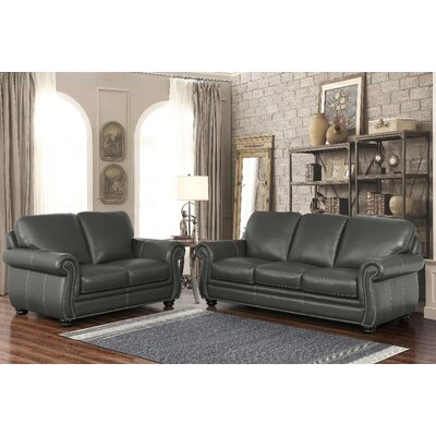 Fairdale Top Grain Leather Sofa and Armchair Set