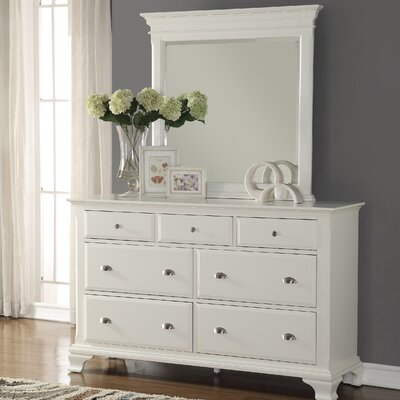 Fellsburg 7 Drawer Dresser with Mirror Color: White