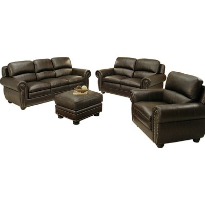 Barrera 4 Piece Top Grain Leather Living Room Collection
