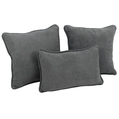 Galbraith 3 Piece Microsuede Throw Pillow Set Color: Gray