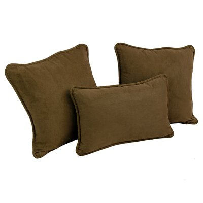 Galbraith 3 Piece Microsuede Throw Pillow Set Color: Chocolate