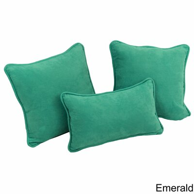 Galbraith 3 Piece Microsuede Throw Pillow Set Color: Emerald