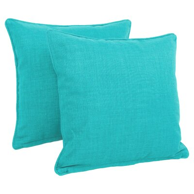 Cadwallader Solid Outdoor Throw Pillow Color: Aqua Blue