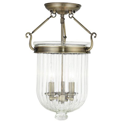 Lindley 3-Light Semi Flush Mount Finish: Antique Brass