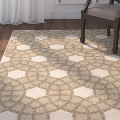 Dubuque Beige Indoor/Outdoor Area Rug Rug Size: 52 x 76