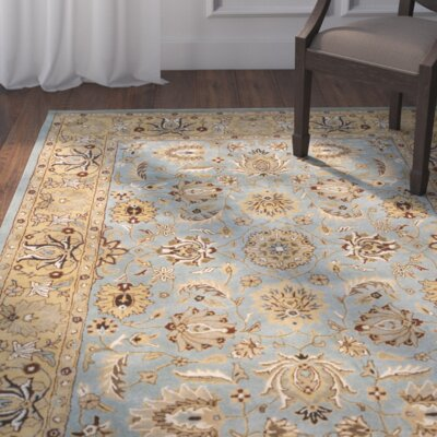 Cardwell Hand-Tufted Blue/Beige Area Rug Rug Size: Rectangle 5 x 8