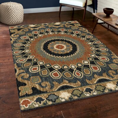 Cohee Blue/Brown/Beige Area Rug Rug Size: 53 x 76