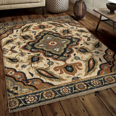 Cohee Beige/Blue/Brown Area Rug Rug Size: 53 x 76