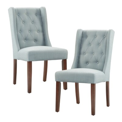 Maxwell Upholstered Dining Chair Upholstery Color: Slate Blue, Leg Color: Espresso